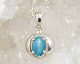 Cute  Blue Australian Opal Silver pendantOPJ 2450