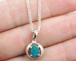 Cute  Blue Australian Opal Silver pendantOPJ 2507