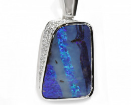 BOULDER OPAL 925 Silver Rhodium Plated Pendant WITH CRYSTAL [CP86]