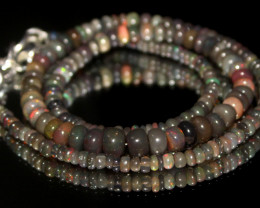 42 Crts Natural Ethiopian Welo Smoked Opal Beads Necklace 157