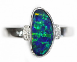 14K GOLD DOUBLET OPAL RING WITH DIAMOND [CR25]