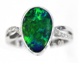 14K GOLD DOUBLET OPAL RING WITH DIAMOND [CR24]
