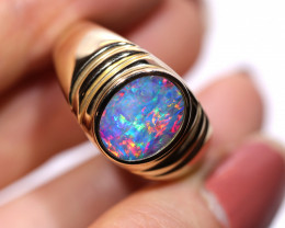 14K GOLD DOUBLET OPAL RING  [CR27]