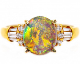 18K GOLD BLACK OPAL RING GOLD AND DIAMOND [CR28]