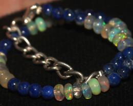 21 Crts Natural Opal & Lapis Lazuli Beads Bracelet 652