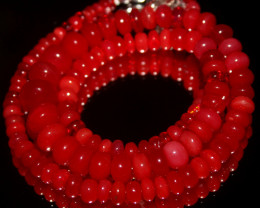 72 Crts Natural Ethiopian Welo Red Opal Beads Necklace 97