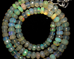78 Crts Natural Ethiopian Welo Faceted Opal Beads Necklace 83