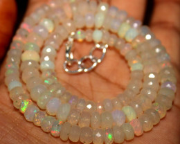 75 Crts Natural Ethiopian Welo Faceted Opal Beads Necklace 85
