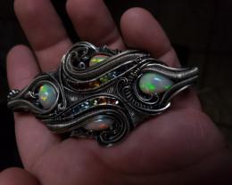 Opal and chakara setting silver pendant