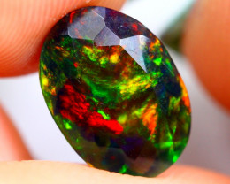 1.20cts SUPER-TOP AAA Ethiopian Black Faceted Opal JU77