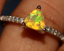 Ethiopian Welo Faceted Opal Silver Ring Size US (8) 0146