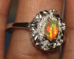 Ethiopian Welo Fire Opal Silver Ring Size US (5.5) 0138