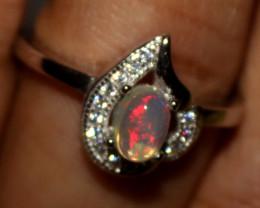 Ethiopian Welo Fire Opal Silver Ring Size US (7) 0142