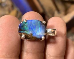 Queensland boulder opal prong set in polished sterling silver