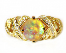 18K GOLD BLACK CRYSTAL OPAL RING GOLD AND DIAMOND[CR31]