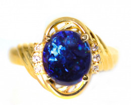 18K GOLD BLACK OPAL RING  GOLD AND DIAMOND
