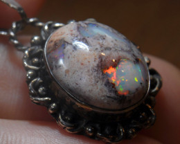 21.85ct Mexican Solid Opal .925 Silver Pendant