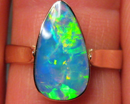 Australian Opal Ring Solid Bright Gem Crystal 2.4g 14k Gold Natural Gemston