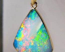 Australian Opal Pendant 7.15ct 14k Gold Genuine Inlay Jewelry Natural Gems