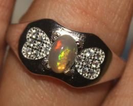 Ethiopian Welo Fire Opal Silver Ring Size US (7) 0140
