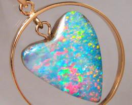 Australian Opal Pendant 14k Rose Gold 15.05ct Genuine Heart Jewelry Gift Ge