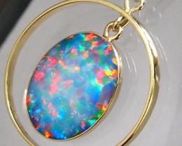 Australian Opal Pendant 14k Gold Genuine Natural Hoop Jewelry 10.15ct Gift