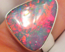 Huge Natural Australian Mens Opal Ring US Size 11 Solid Sterling Silver Gem