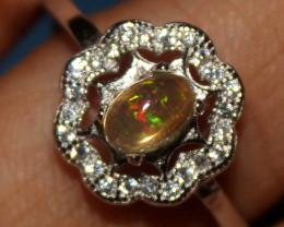 Ethiopian Welo Fire Opal Silver Ring Size US (8.5) 0145