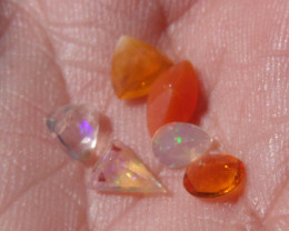 1.49 Cts. Lot (C-155) 6 pcs Faceted Fire Mexican Opal
