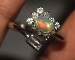 Ethiopian Welo Fire Opal Silver Ring Size US (5) 0139