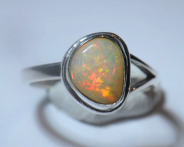 6sz. Blazing Welo Solid Opal Sterling Silver Ring