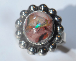 6sz. Mexican Opal Solid Silver .925 Ring