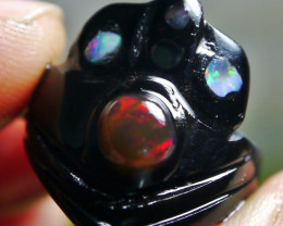 8.15 CT UNTREATED Indonesian Opal With Crown Carving Ring (BUFFALO HORN)