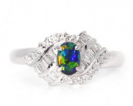 PLATINUM BLACK OPAL RING GOLD AND DIAMONDS [CR36]