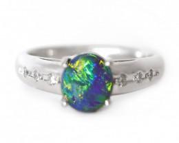 PLATINUM BLACK OPAL RING GOLD AND DIAMONDS [CR39]