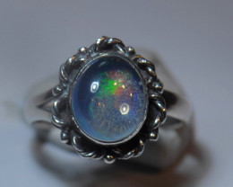 6sz. Water Mexican  Solid Opal .925 Sterling Ring