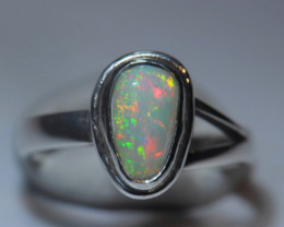 6sz. Fiery Welo Solid Opal 925 Sterling Silver Ring
