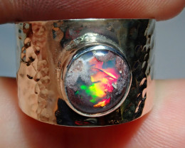 7 Mexican Matrix  Opal & .925 Hammered Sterling Ring