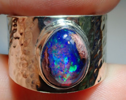 7.5 Mexican Matrix  Opal & .925 Hammered Sterling Ring