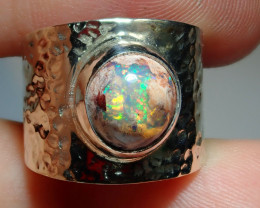 4.5 Mexican Matrix  Opal & .925 Hammered Sterling Ring