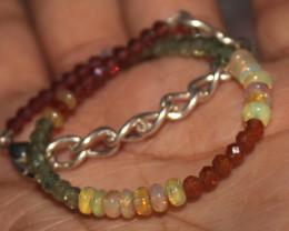 17 Crts Natural Welo Opal Apatite & Garnet Beads Bracelet 708