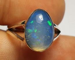 5.5sz Ethiopian Welo Opal & .925 Handmade Sterling Ring