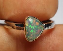 7.25 sz Ethiopian Welo Opal & .925 Handmade Sterling Ring
