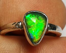 6 sz Ethiopian Welo Opal & .925 Handmade Sterling Ring