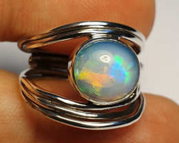 6.5 sz Ethiopian Welo Opal & .925 Handmade Sterling Ring