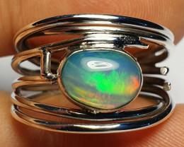 8 sz Ethiopian Welo Opal & .925 Handmade Sterling Ring