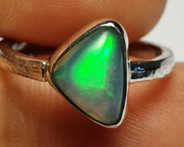 5.5 sz Ethiopian Welo Opal & .925 Handmade Sterling Ring
