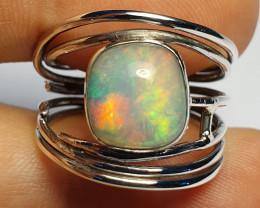 8.75 sz Ethiopian Welo Opal & .925 Handmade Sterling Ring
