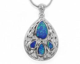 Opal Doublet LIGHTNING RIDGE 925 Silver Rhodium Plated Pendant [CP93]