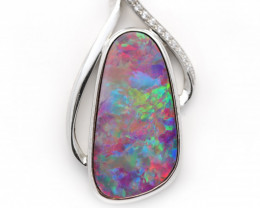 925 ST/ SILVER RHODIUM PLATED OPAL DOUBLET PENDANT [CP94]